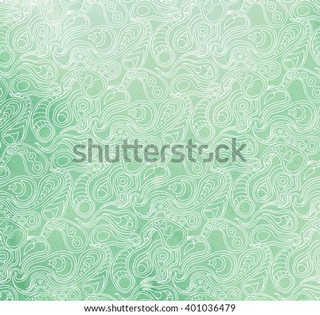 White zentangle pattern on blue and green  flow  aquarelle painting background, watercolor design