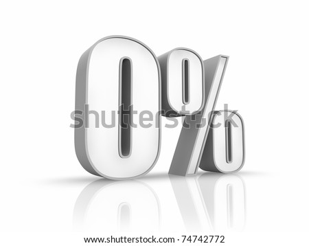 White zero percent, isolated on white background. 0% - stock photo