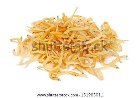Whitebait on a white background