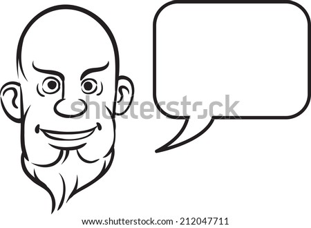 whiteboard drawing - bald and bearded face with speech bubble - stock photo