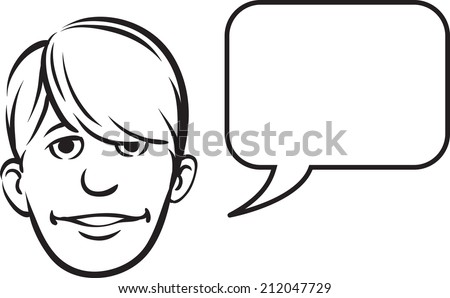 whiteboard drawing - bangs face with speech bubble - stock photo