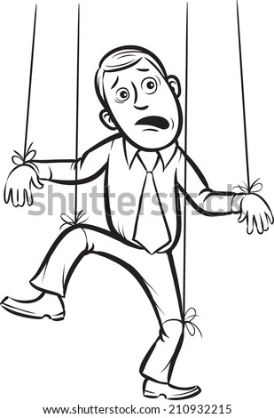 whiteboard drawing - businessman as a puppet on strings - stock photo