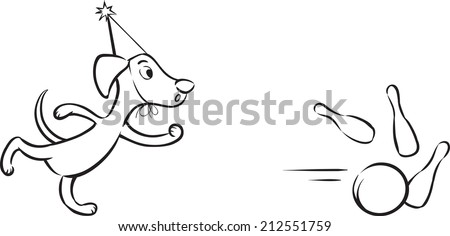 whiteboard drawing - cartoon dog playing bowling