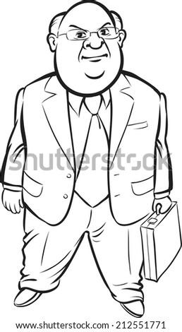 whiteboard drawing - cartoon standing fat businessman - stock photo