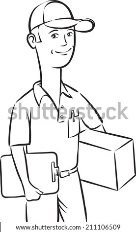whiteboard drawing - delivery man with box and clipboard - stock photo