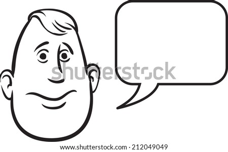 whiteboard drawing - fatty face with speech bubble - stock photo