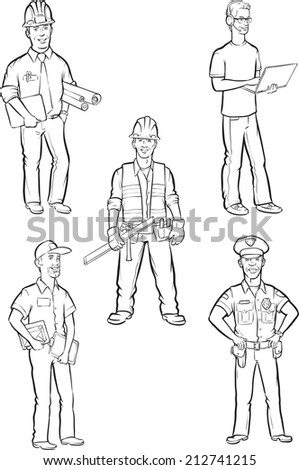 whiteboard drawing - professional men - stock photo
