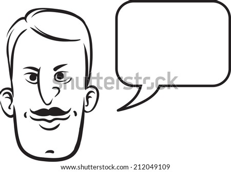 whiteboard drawing - retro face with speech bubble - stock photo