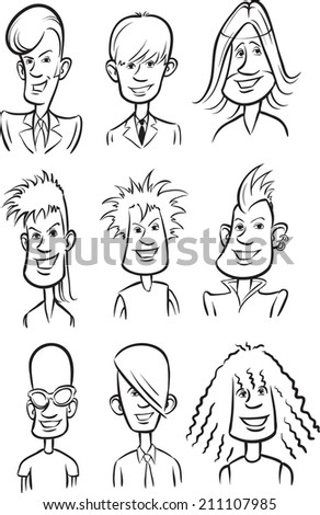 whiteboard drawing - Rock stars cartoon faces - stock photo