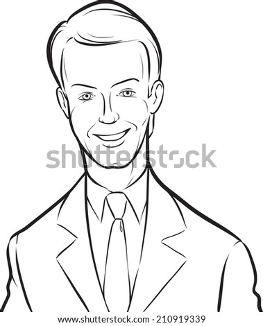 whiteboard drawing - smiling handsome businessman - stock photo