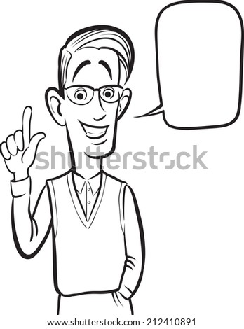 whiteboard drawing - standing smiling geek guy - stock photo