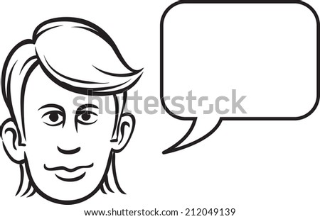 whiteboard drawing - young man face with speech bubble - stock photo