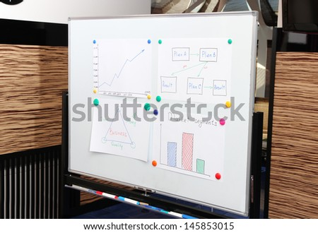 Whiteboard for plots and ideas in meeting room in office center - stock photo