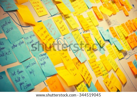 whiteboard post-it colored notes - stock photo