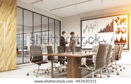 Whiteboard with business chart in conference room interior with businesspeople, city view and sunlight. Side view, 3D Rendering - stock photo