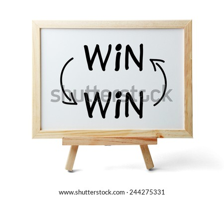 Whiteboard with Win-Win Concept is isolated on white background. - stock photo
