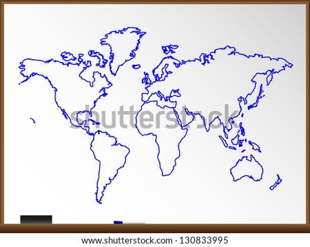 Whiteboard World Map, Illustration. Also see vector version. - stock photo