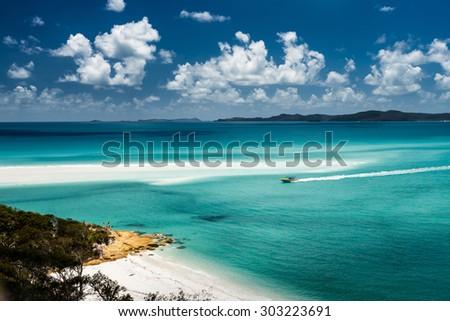 Whitehaven Beach in the Whitsundays Archipelago, Queensland, Australia - stock photo