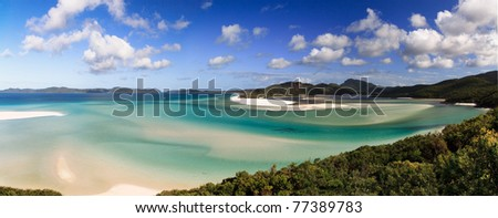 Whitehaven beach, lagoon national recreational park white silica sand and clear water coral sea - stock photo