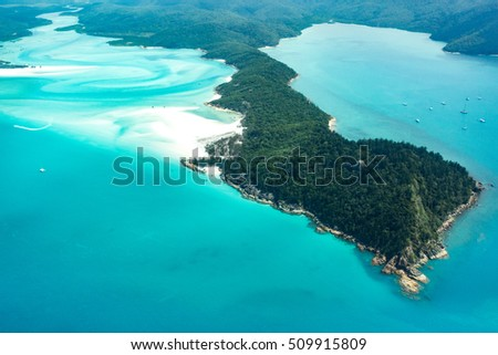 Whitehaven beach, Whitsunday islands, Queensland, Australia. Aerial view