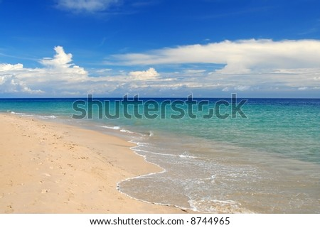 whitewash on tropical caribbean island - stock photo