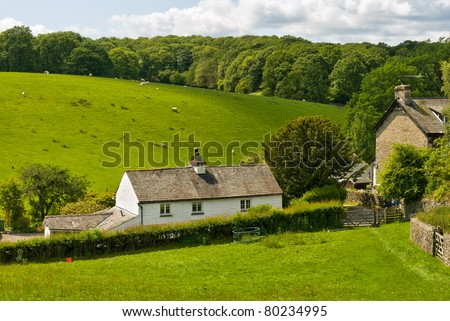 Whitewashed cottage in rural setting.