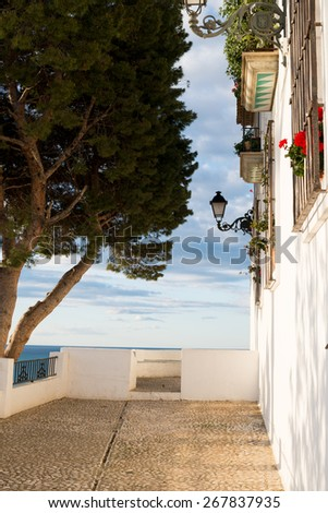 Whitewashed houses overlooking the Mediterranean in Altea old town