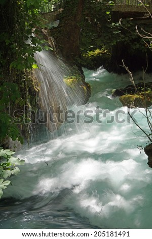Whitewater of the Duden river  collects small streams as it flows to the Mediterranean Sea in  Turkey