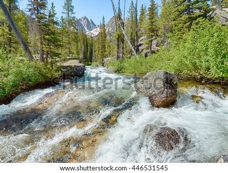 Whitewater on Redfish Lake Creek, in the Sawtooth National Recreation Area, near Stanley, Idaho. - stock photo