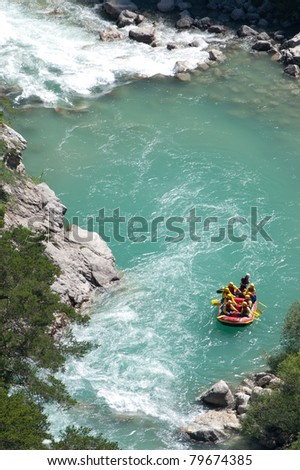 Whitewater rafting at the 'Gorges du Verdon', Provence France. - stock photo