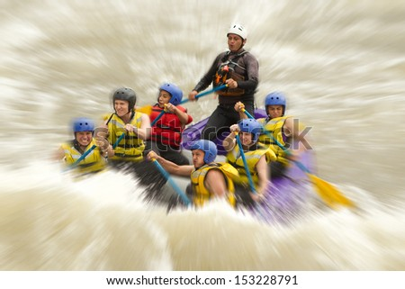 Whitewater rafting blured in post production - stock photo