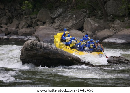 Whitewater Rafting with Copy Space - stock photo