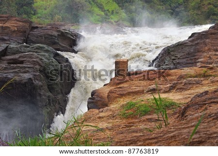 whitewater scenery at the Murchison Falls in Uganda (Africa) - stock photo