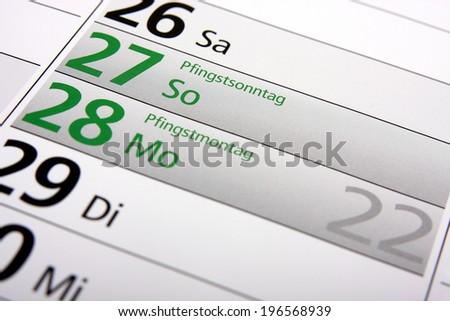 Whitsun in the german calendar - stock photo