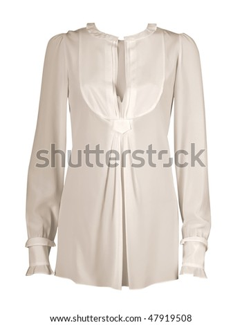 whitw lace blouse - stock photo