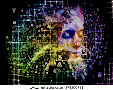 Who Are We series. Backdrop of surreal human portrait, fractal and mathematical patterns on the subject of philosophy, religion, math, science, technology and education - stock photo