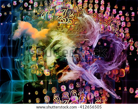 Who Are We series. Creative arrangement of surreal human portrait, fractal and mathematical patterns for subject of philosophy, religion, math, science, technology and education - stock photo