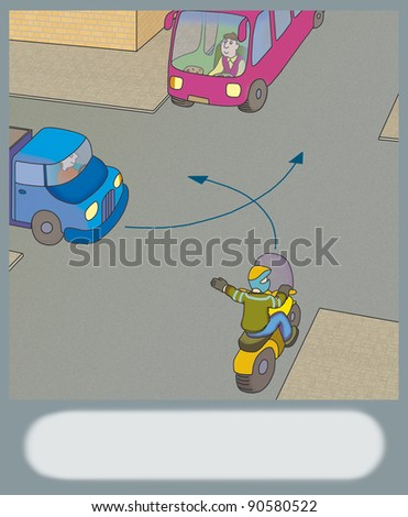 who can make a turn first? - stock photo