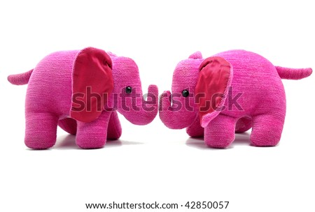 Who can resist to these two sweet pink elephants? - stock photo