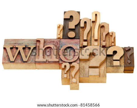 who question with multiple question marks - isolated vintage wood letterpress printing blocks - stock photo
