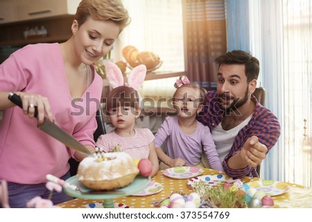 Who wanna get Easter cake? - stock photo