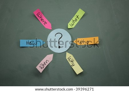 Who What Where When Why How Question written in sticky notes pointed towards a question mark in the center circle - stock photo