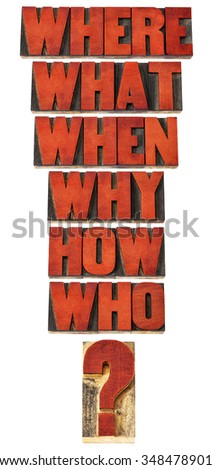 who, what, where, when, why, how questions  - brainstorming or decision making concept - a collage of isolated words in vintage letterpress wood type stained by red ink - stock photo