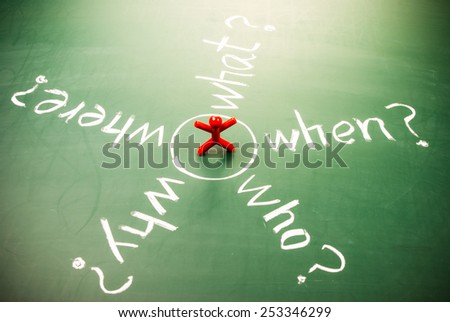 Who, why, what, where and when words with person on blackboard - stock photo