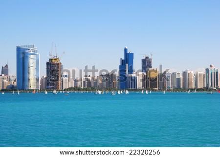 Whole Abu Dhabi City Landscape and cityscape. - stock photo