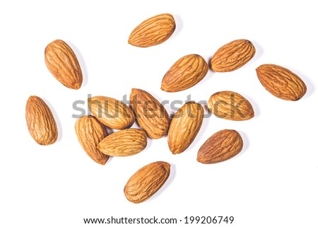 Whole almonds on a white background  - stock photo