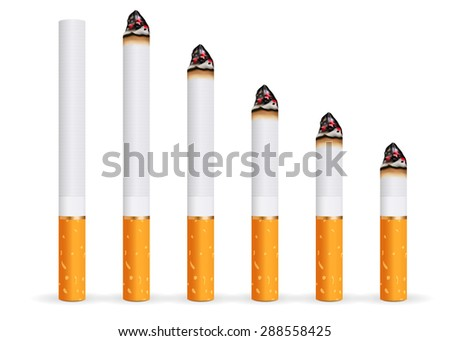 Whole and burning cigarette. isolated on white background. Raster version