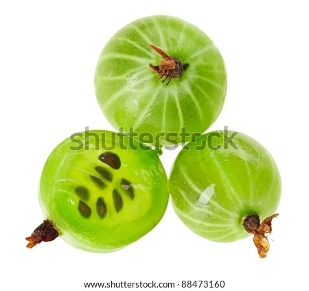 Whole and cross-section of gooseberry fruit isolated on white, macro - stock photo