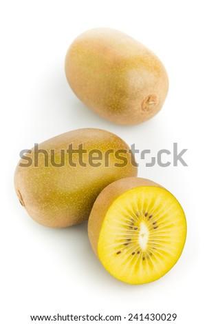Whole and cut golden kiwifruit/ kiwi (Actinidia chinensis) on white background - stock photo