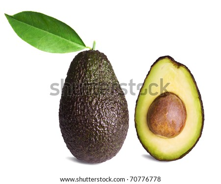 whole and half avocados with leaf isolated on white background